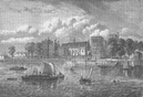 LAMBETH PALACE. Lambeth Palace, from the river, 1709. London c1880 old print